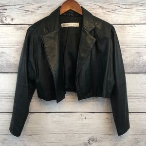 Andrew Marc Womens Leather Crop Jacket Black 12
